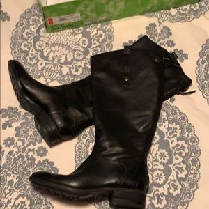 Black leather tall wide calf boots